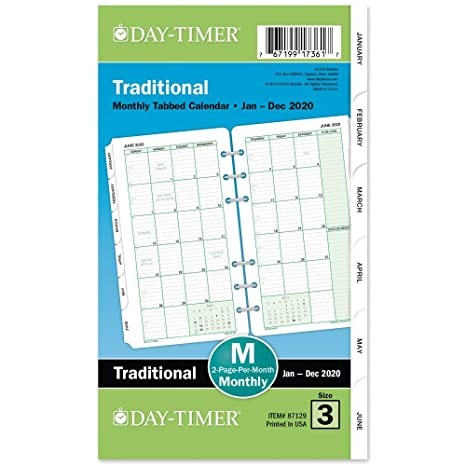 Day-Timer 2020 Monthly Planner Refill, Two Pages Per Month, 3-3/4