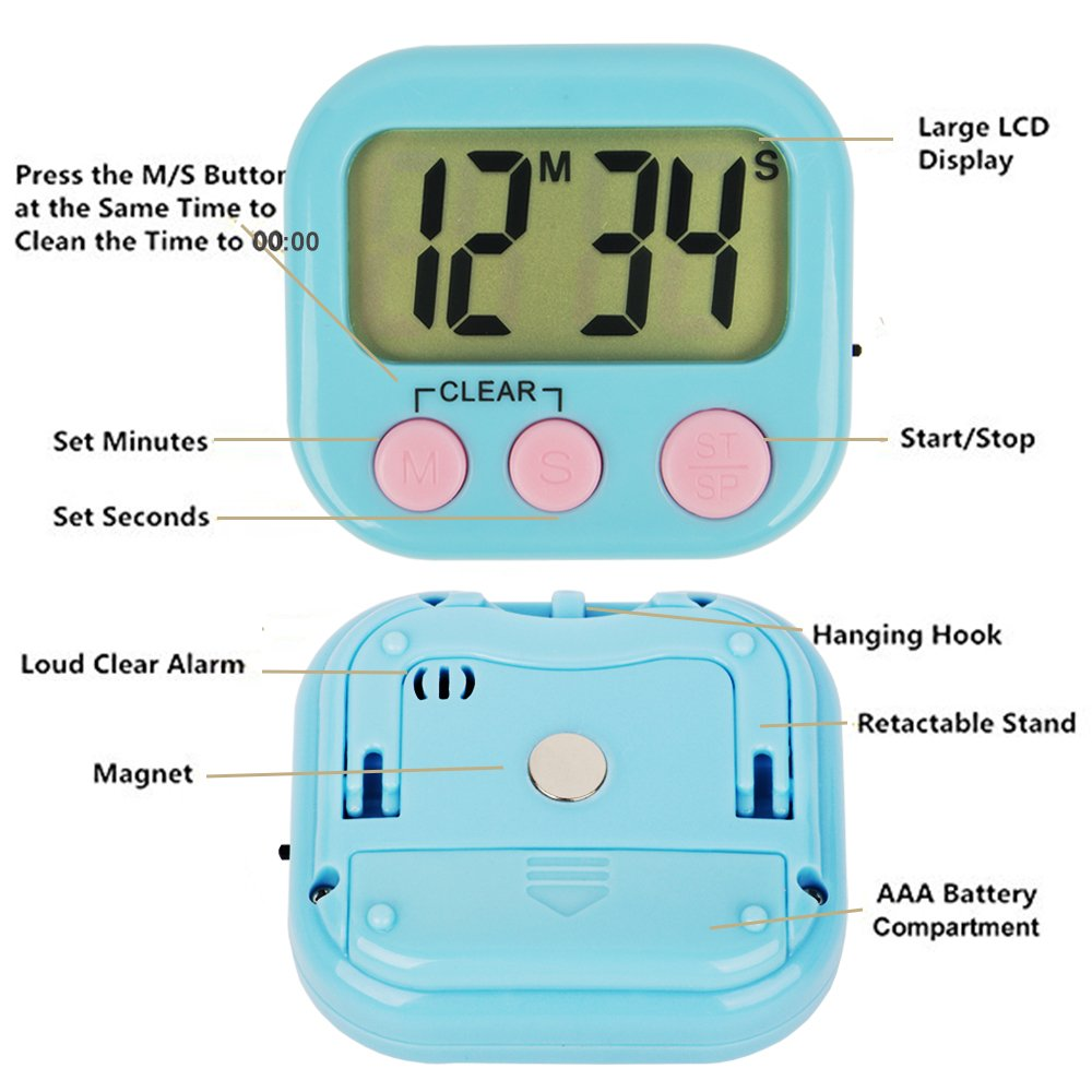 Amazon.com: Digital Kitchen Timer Magnetic Back Big LCD Display Loud ...