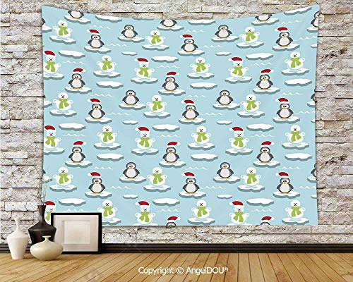 AngelDOU Kids Soft Fabric Durable Tapestry Wall Hanging Cute Penguins and Snowmans on Ice Floes Antarctica Cartoon Caps Scarfs Funny Pattern Wall Art Hippie Tapestry.W59xL51.2(inch)