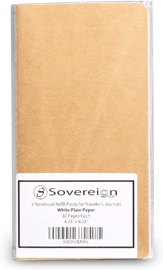 8.5 x 4.5 Soft Cover Thick Spare Blank Paper Insert for TN Travel Diary Plain Travelers Notebook Paper Refills 3 Pack Cream Unlined Inserts for Standard Refillable Travellers Leather Travel Journals