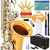 Lazarro Professional Gold Body-Silver Keys E-flat Eb Alto Saxophone Sax with 11 Reeds, Case, Music Book, Mouthpiece and Many Extras, 360-LN-L