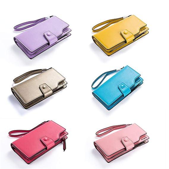 Amazon.com: Women Wallets Leather Zipper Wallet Womens Long Design Purse Two Fold More Color Clutch Carteira Feminina Lavender