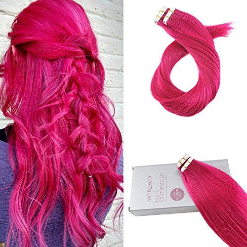 Moresoo 16 Inch Tape on Extensions Human Hair 25g/10pcs Color Hot Pink 100% Remy Human Hair Seamless Tape in Full Head Hair Extensions Soft Hair Extensions Double Sided Tape in -