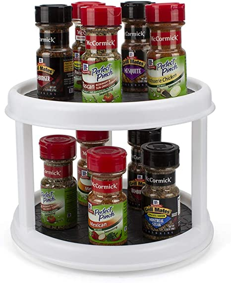Organization for Cabinets Bathroom Countertop Pantry Greenstell 2-Tier Lazy Susan Turntable Cabinet Organizer 10 Inches Round Wood Rotating Turntable Kitchen Spice Organizer Dark Brown Vanity