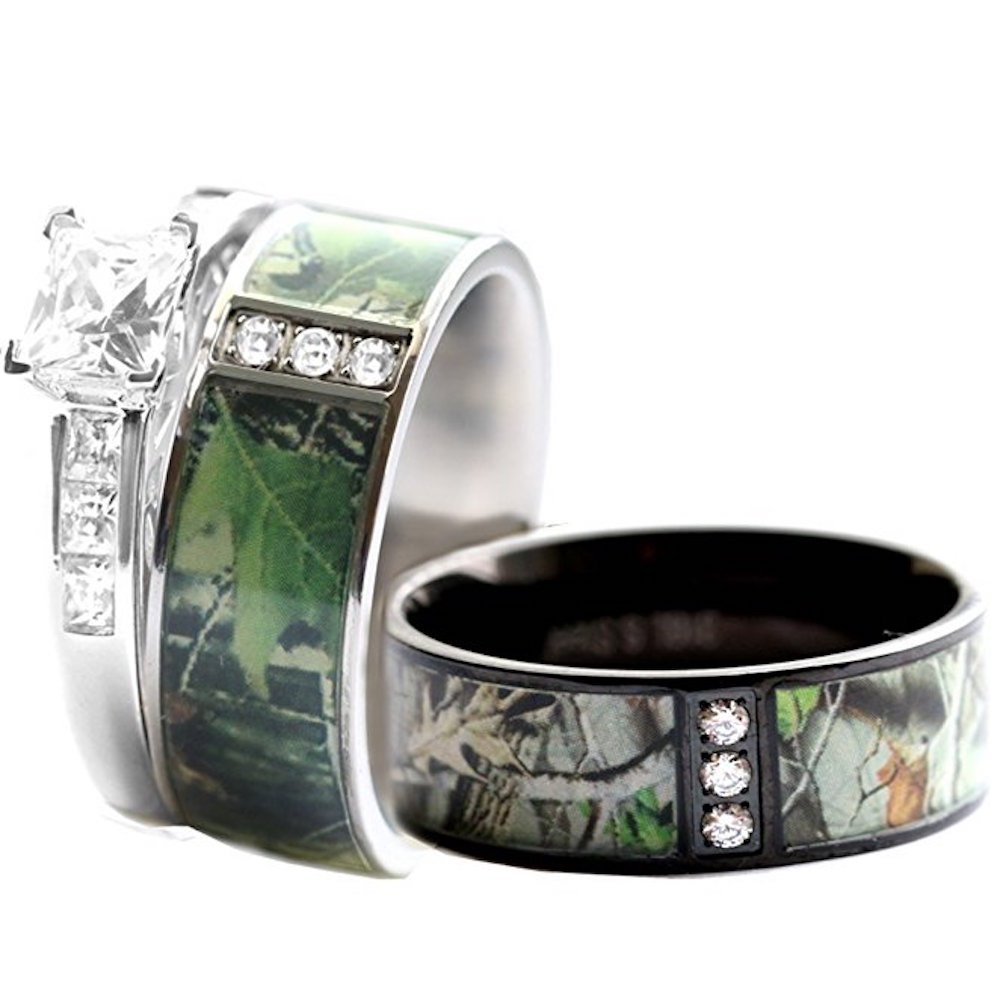 Amazon Com His Hers Stainless Steel Camo 925 Silver Engagement