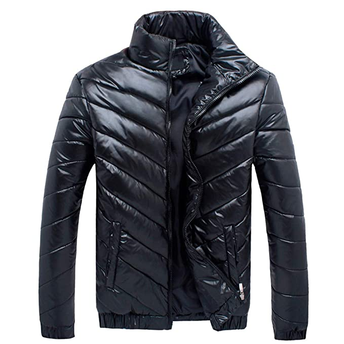 YanHoo Abajo Chaqueta de Hombre Abrigo de algodón de Chaqueta de Sarga Casual de Cuello Redondo de Color sólido para Hombres Chaquetas de Bolsillo con ...