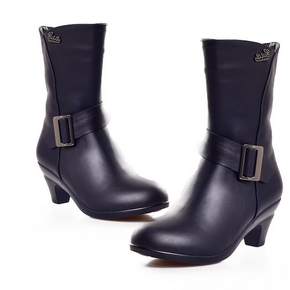 VogueZone009 Womens Closed Round Toe Kitten Heel Short Plush Cow Leather Solid Boots with Zipper