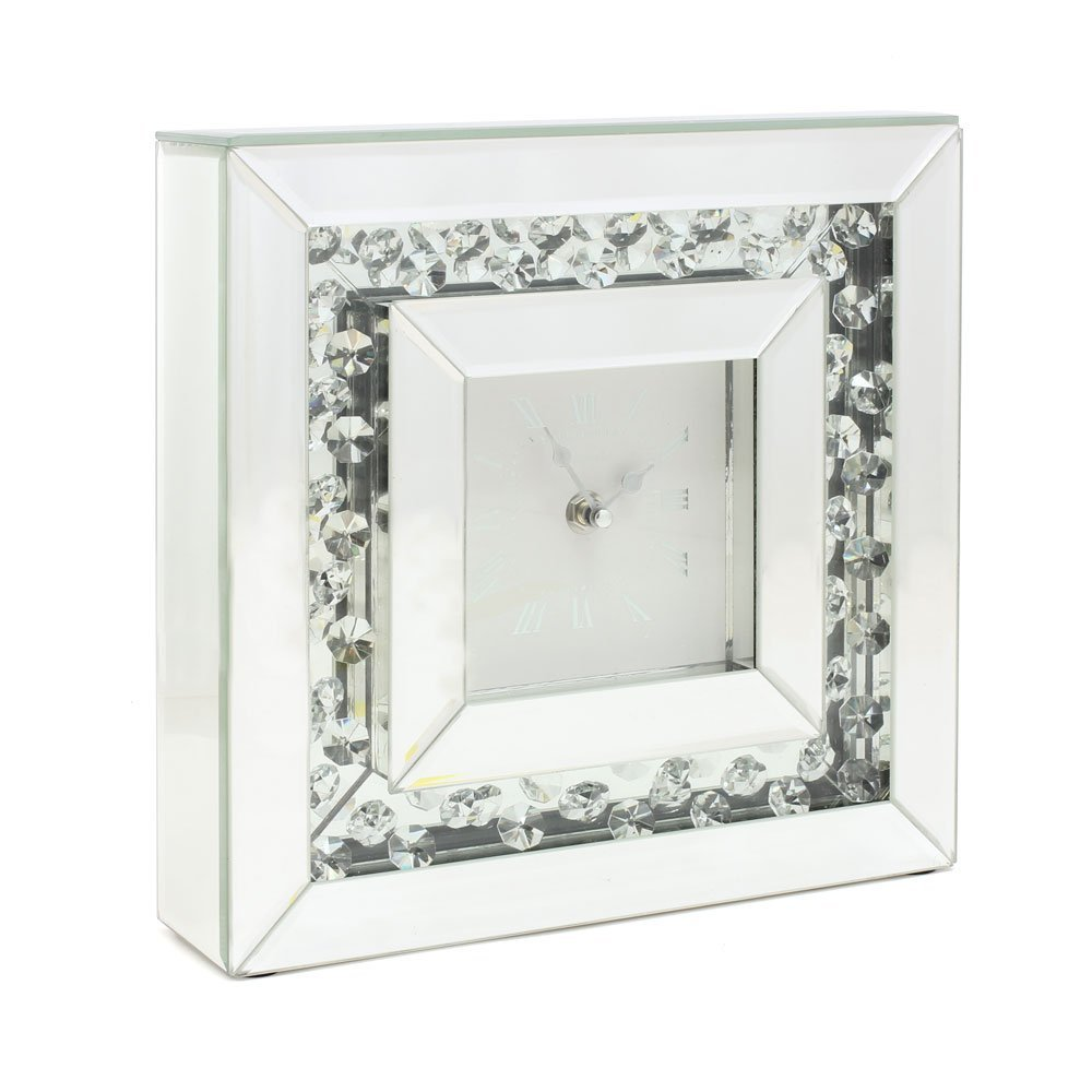 Floating Crystal Square Mantel Clock Lesser and Pavey