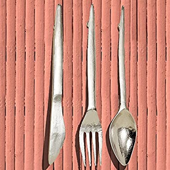 The Gastro Chic Knife, Fork, and Spoon Wall Utensils Sculpture, Oversized Wall Art, Handcrafted, Polished Silver Aluminum, Each 2 Ft Long, By Whole House Worlds