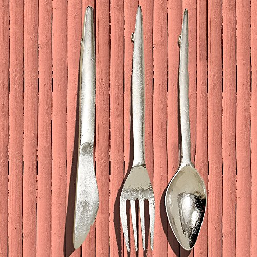 Fork Wall - The Gastro Chic Knife, Fork, and Spoon Wall Utensils Sculpture, Oversized Wall Art, Handcrafted, Polished Silver Aluminum, Each 2 Ft Long, By Whole House Worlds