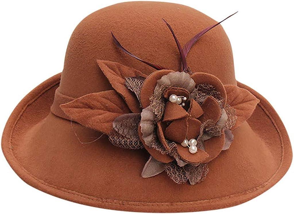 JJHAEVDY Womens Winter Bucket Hat 1920s Vintage Cloche Derby Hat Feather Floral Formal Dress Hat Fedora Round Fall Bowler