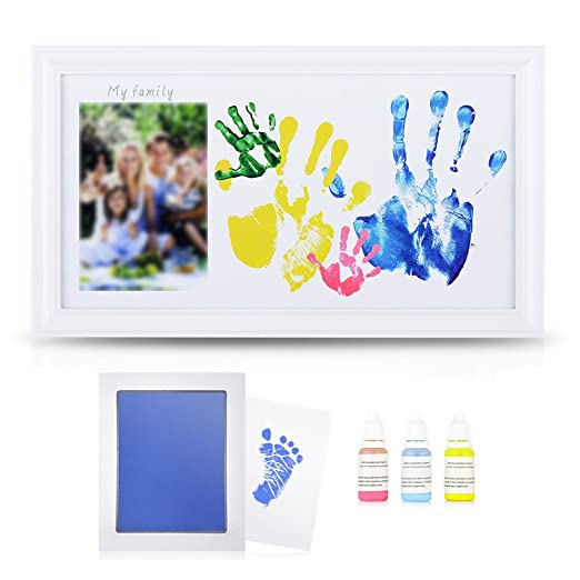 DIY Family Photo+ Family/Baby Handprints/Footprints Kit with 10 X 17'' Elegant White Wood Picture Frame, Non-Toxic Watercolor Paints, Baby Clean-Touch Ink Pad, Baby Shower Keepsakes Family Gifts