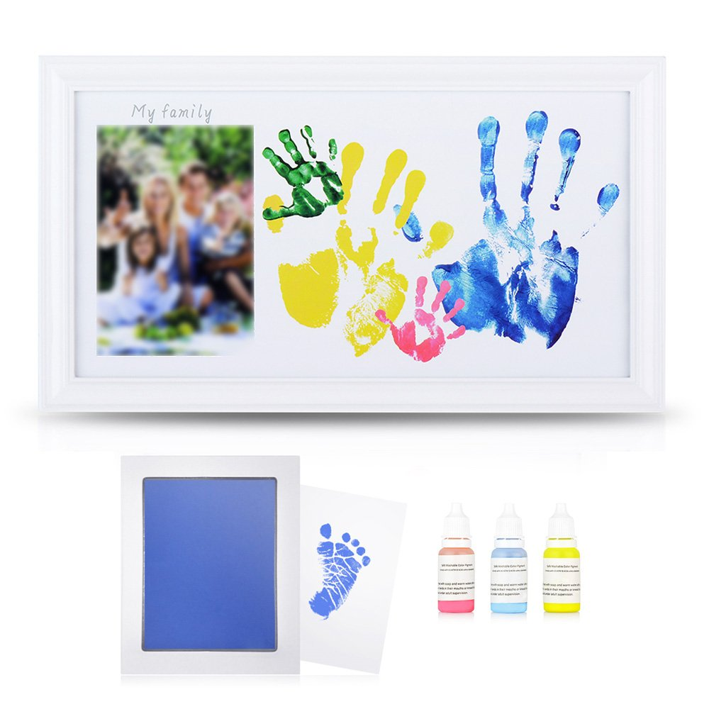 DIY Family Photo+ Family/Baby Handprints/Footprints Kit with 10 X 17'' Elegant White Wood Picture Frame, Non-Toxic Watercolor Paints, Baby Clean-touch Ink Pad, Baby Shower Keepsakes Mother's Day Gifts