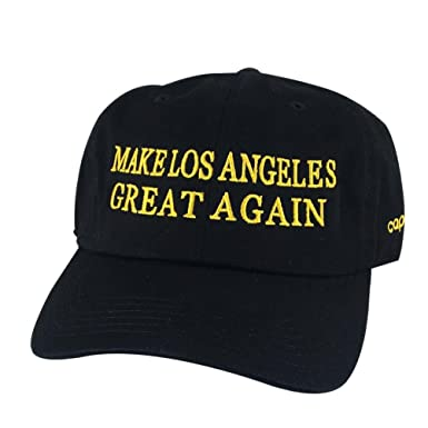 Make Los Angeles Great Again Custom Embroidered Baseball Hat Dad Cap -  Black Gold Yellow 8507a023a72