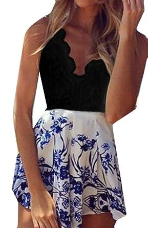 d7519d61f08 Amazon.com  KLJR-Women Boho Crochet V Neck Halter Backless Floral Lace  Romper Jumpsuit  Clothing