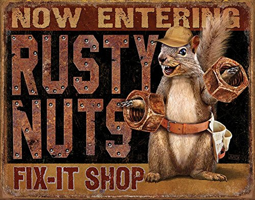 Rusty Nuts Fix It Shop Tin Sign 16 x 13in