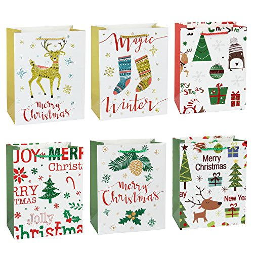 WRAPAHOLIC Christmas Holiday Gift Bags - Medium Size Assorted Foil & Glitter Beautiful Winter Designs - 7