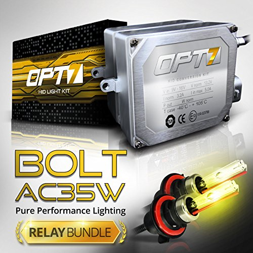Bolt AC 35w HID Xenon Conversion Kit w/ Relay & Capacitors Bundle H13 Bi-Xenon [8000K Ice Blue] 2 Yr Warranty