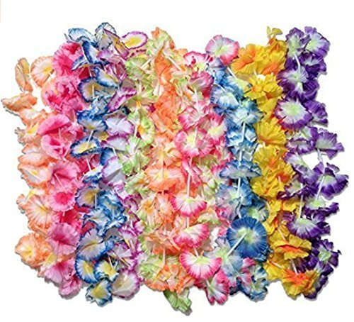 BOSHENG 50 luau flower leis - jumbo carnation party pack fabric (Carnation Leis)