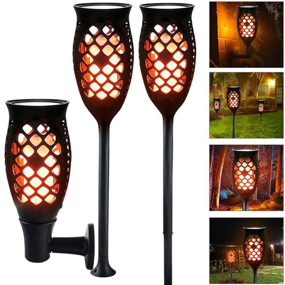 H+K+L Outdoor Solar Light, Upgraded Flickering Flame Torches Lights Solar Environment-Friendly Spotlights (Black)