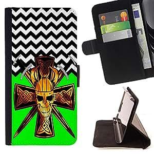 - Devil Cross Chevron Pattern - - Prima caja de la PU billetera de cuero con ranuras para tarjetas, efectivo Compartimiento desmontable y correa para la mu?eca FOR Samsung Galaxy Note 3 III N9000 N9008V N9009 King case