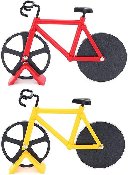 TAECOOOL - Cortador de pizza de acero inoxidable para bicicleta (2 piezas), color rojo y amarillo: Amazon.es: Hogar