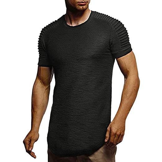 42e0c78971 Men's Crewneck Short Sleeve T Shirt Summer Casual Slim Pleated Solid Color Male  Shirts Cotton Blouse Tops
