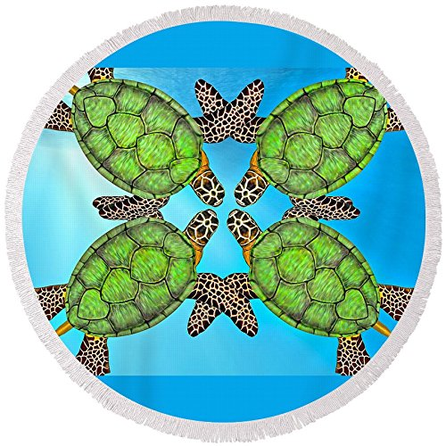 Pixels Round Beach Towel With Tassels featuring ''Sea Turtles'' by Betsy Knapp by Pixels