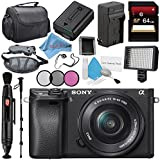 Sony Alpha a6300 Mirrorless Digital Camera with 16-50mm Lens (Black) ILCE6300L/B + NP-FW50 Replacement Lithium Ion Battery + External Rapid Charger + Carrying Case + Memory Card Wallet Bundle
