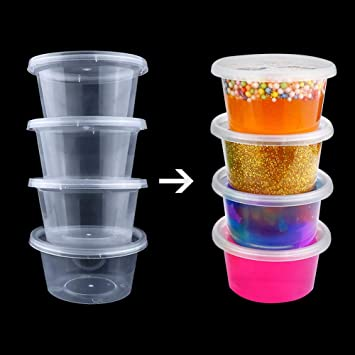 ChunKang 40 unidades 4 oz Slime contenedores con tapas Slime Tubs plástico transparente contenedor de almacenamiento: Amazon.es: Hogar
