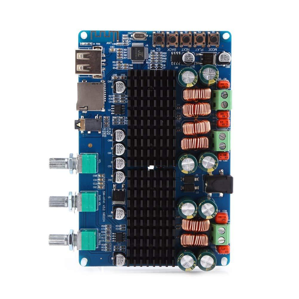 Akozon Amplificador Estéreo Digital 2.1 Canales Placa Bluetooth USB TF Entrada 50W + 50W Estéreo 100W Salida de Subwoofer
