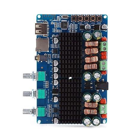 Akozon Amplificador Estéreo Digital 2.1 Canales Placa Bluetooth USB TF Entrada 50W + 50W Estéreo 100W