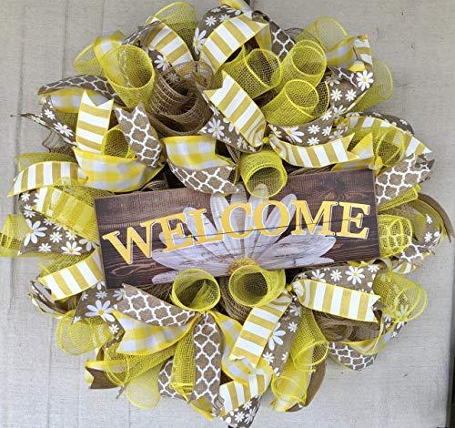 Rustic Welcome Daisy Wreath | Rustic Farmhouse Everyday Decor | Welcome Door Hanger | Farmhouse Decor | FREE Shipping | Burlap Bowtique