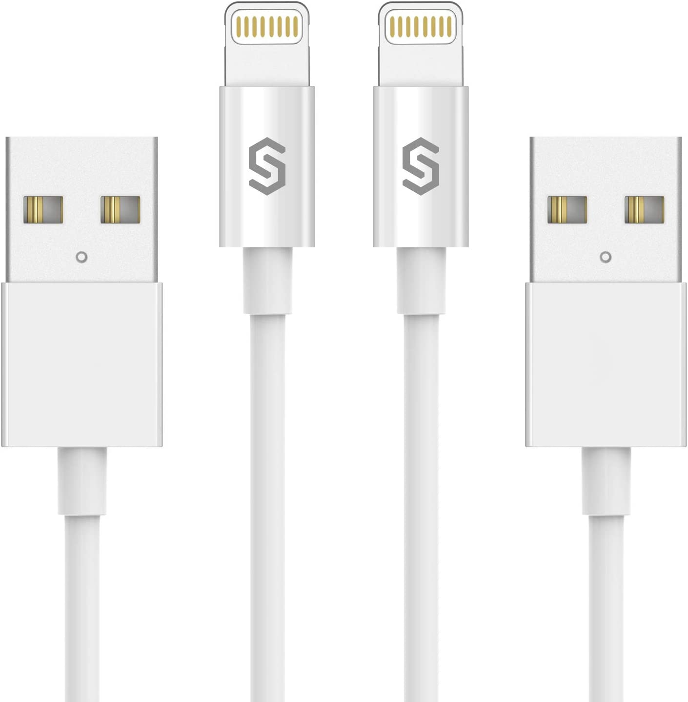 Syncwire iPhone Charger Lightning Cable - [Apple MFi Certified] 2-Pack 3.3ft for iPhone Xs, Xs Max, XR, X, 8, 8 Plus, 7, 7 Plus, 6s, 6s Plus, 6, 6 Plus, SE, 5s, 5c, 5, iPad Mini/Air / Pro – White
