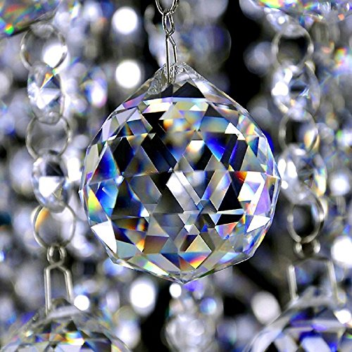 De Art Pendant Crystal (Clear Glass Crystal Ball Prisms Pendant Feng Shui Suncatcher Decorating Hanging Faceted Prism Balls for Feng Shui/Divination or Wedding/Home/Office Decoration 40mm Pack of 10)