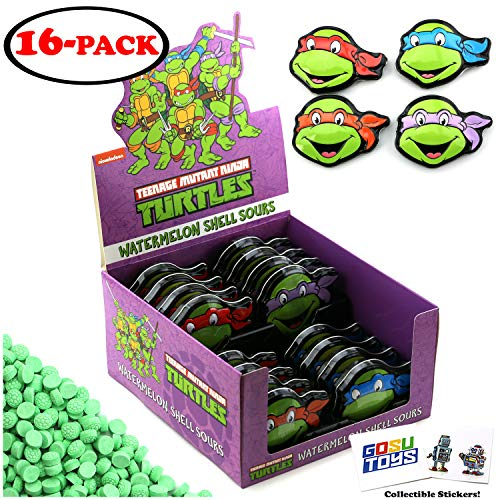 Teenage Muntant Ninja Turtles Tin Candy (16 Pack Case) Watermelon Flavor TMNT Shell Sours Gift Stuffers with 2 GosuToys Stickers