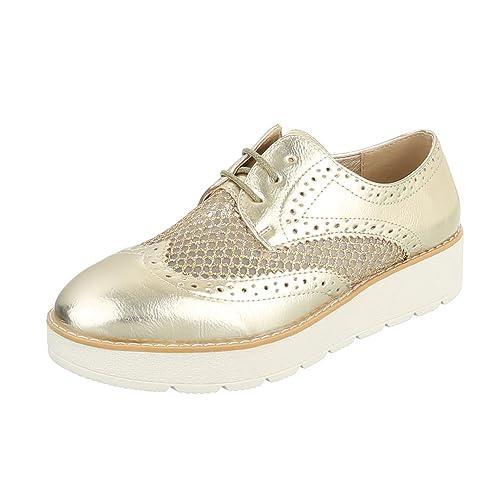 Ital-Design - Zapatos Planos con Cordones Mujer , color blanco, talla 38 EU