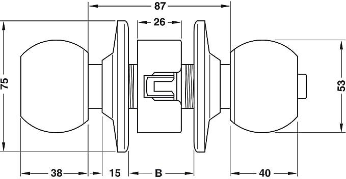 Gedotec Knopf-T/ürschloss Antik Zimmer-T/ürbeschlag rund Drehknopf mit Not/öffnung 1 Komplett-Set mit Schrauben Dreh-Druckknopf Messing antik