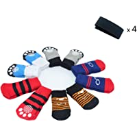 CONXKI Traction Control Cotton Socks Indoor Dog Nonskid Knit Socks 5 Pack (20 Pieces Socks), 4 Velcro and Color Shown