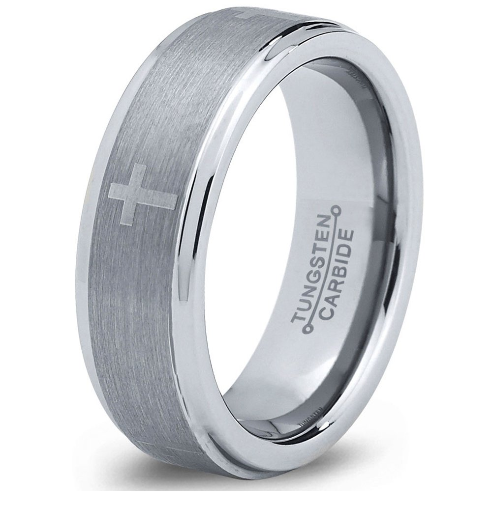 Tungsten Wedding Band Ring 8mm 6mm for Men Women Comfort Fit Christian Cross Beveled Edge Cut Polished FREE Custom Laser Engraving Lifetime Guarantee