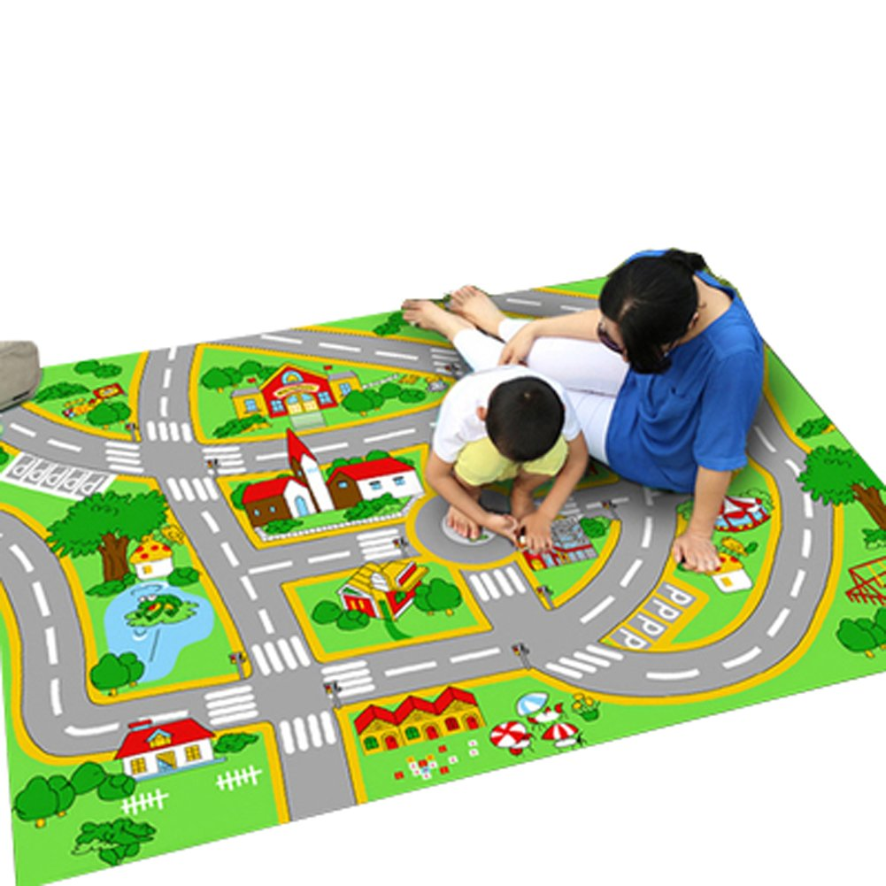 Bopstyle Carpets City Life Play Mat with Town, Police and Roads for Children Learning Kederastyle PLC-10