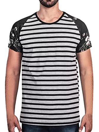 f2864f9238f9 Image Unavailable. Image not available for. Color  Bbalizko Mens Casual  Slim Fit Raglan Baseball Short Sleeve Floral Print Patchwork T-Shirts