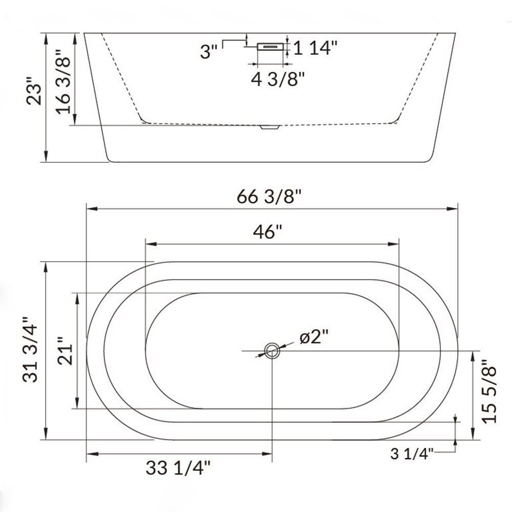 Woodbridge 67'' Acrylic Freestanding Bathtub Contemporary Soaking Tub with Brushed Nickel Overflow and Drain, B-0002 / BTA1504