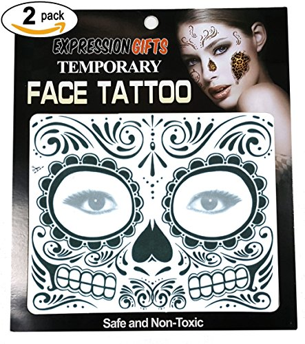 Black Day Of The Dead - 2 Pack Face Tattoos (Dead Makeup)
