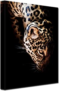 Black Golden Wall Art Bathroom Decor Leopard Head Office Wall Decor Luxury Artwork for Living Room Home Decorations Ready to Hang