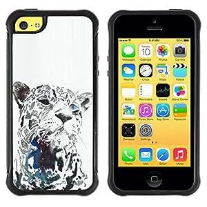 Fuerte Suave TPU GEL Caso Carcasa de Protección Funda para Apple Iphone 5C / Business Style leopard black animal big cat whiskers