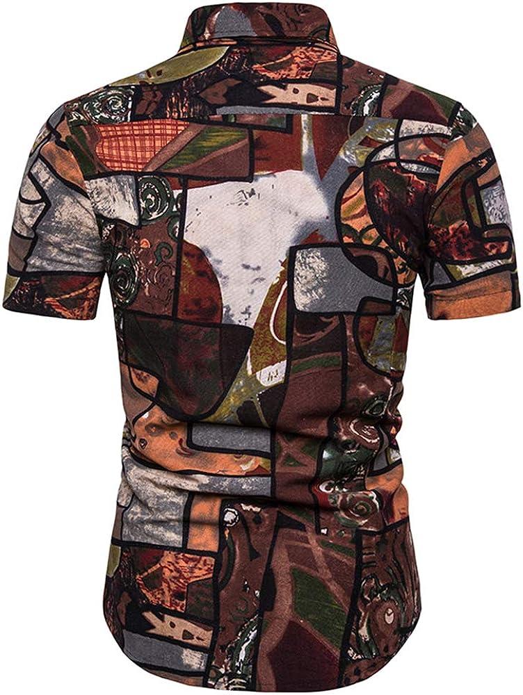 HERW Mens Summer Fashion Beach Hawaiian Shirt Brand Slim Fit Short Sleeve Shirts