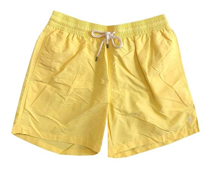 4b37e6e4fc Ralph Lauren Polo Mens Printed Swim Shorts Beach Trunks with Strings -  Yellow - Small: Amazon.co.uk: Clothing