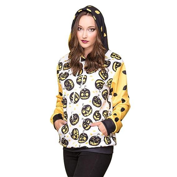 Mujer De Halloween Moda,BBestseller Bruja Calabaza Imprimir Sudadera con Capucha De Manga Larga Camiseta