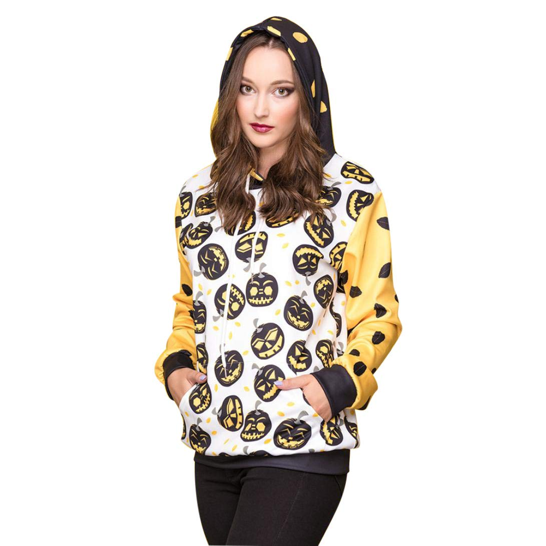 kaifongfu Ladies Halloween Sweater with Long Sleeve Blouse Pumpkin Devil Print Hooded (White,M)
